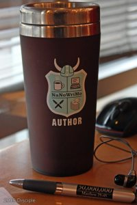 Pretending to be a writer with style with my NaNoWriMo Author's  Cup
