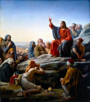 Christ teaching and giving the new law in His Sermon on the Mount