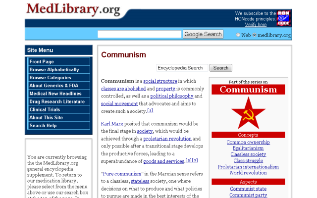 Why does a medical library site need a section on Communism?