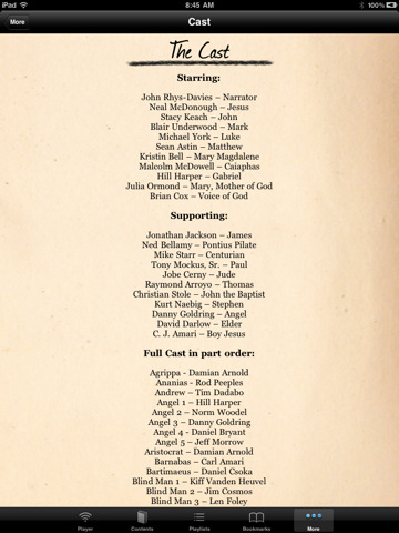 Truth and Life, Partial Cast List