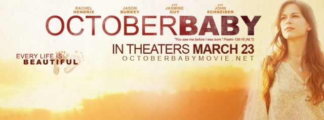 October Baby, filmed here in Birmingham AL, the trailers look GREAT