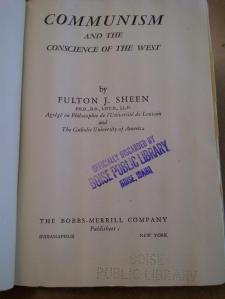 Bishop Sheen, Communism and the Conscience of the West, title page