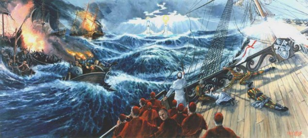 Peter guides the ship of the Church through the stormy seas of the world