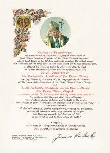Apostolic Blessing from Pope John Paul II