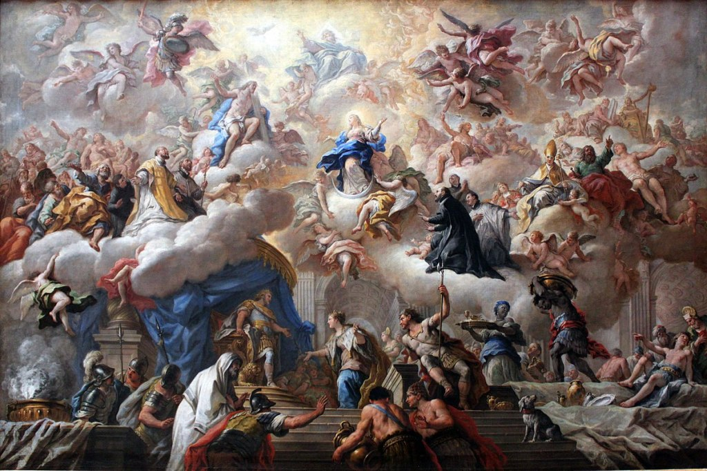 The triumph of the Immaculate, by Paolo de Matteis. Wikimedia. Public domain. All that spirit: Divinity, angels, human souls.