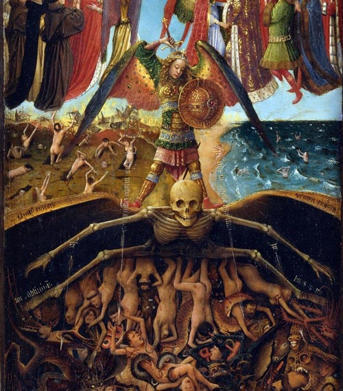 Last Judgment, detail, by Jan van Eyck. Wikimedia. Public domain. Not a chubby little cherub!