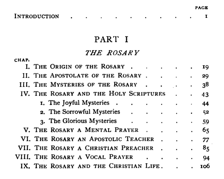 TOC for Part I of the Rosary Guide for Priests and People